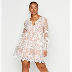 Boohoo Plus Lace Plunge Skater Dress